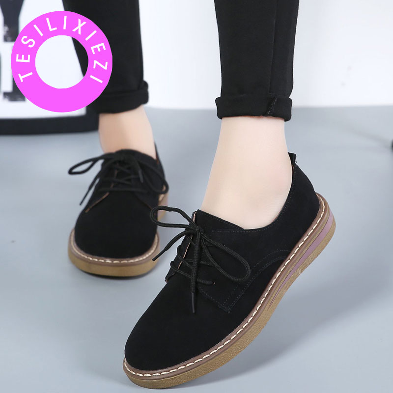 TESILIXIEZI Women Oxford Shoes Autumn Flats Shoes Ladies   Leather     Suede   Sneakers Spring Style Lace Up Boat Shoes Moccasins 2018