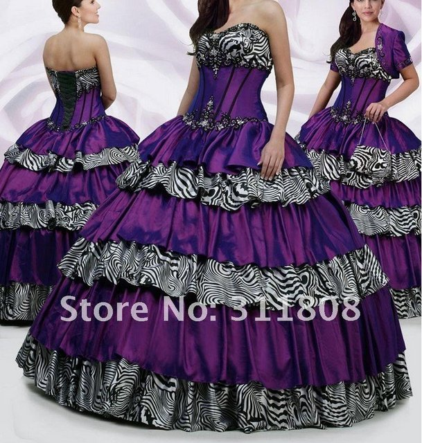 Free shipping Hot Zebra Stripes + Plum Quinceanera Dresses Prom ...