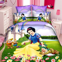 Disney snow princess girls bedding set funda nórdica hoja de cama fundas de almohada individual doble tamaño