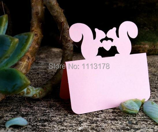 Pink Squirrel Couple Blank Place Cards Holiday Wedding Dinner