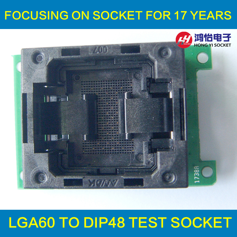 LGA60 TO DIP48 Flash Programmer Adapter Open Top Structure IC Test Socket LGA60 Burn in Socket Programming Socket Connector import cnv msop 8 test socket adapter convert burn msop8 to dip8