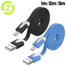 1M 2M 3M Noodle Flat wire Data Charger V8 Micro USB charging Cable For Samsung S6