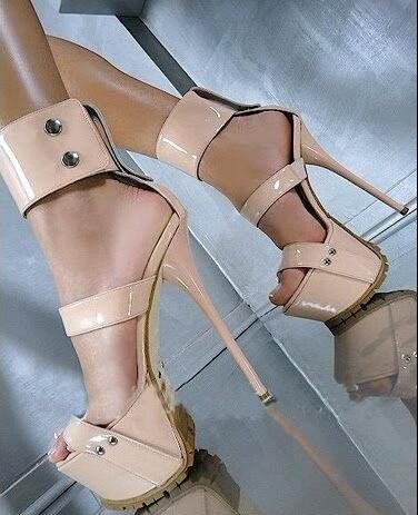 2017 New Arrival Women Hot Pink Nude Patent Leather Open Toe Platform Buckles 16 cm High Heel Sandals Big Size 43