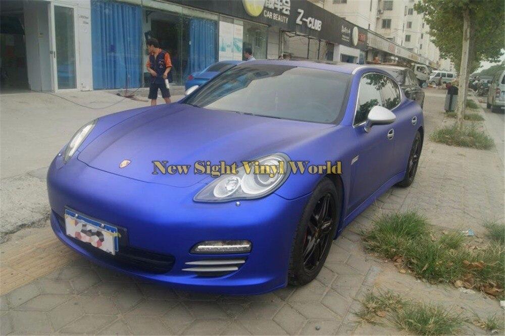 Haute qualité mat Satin Chrome bleu vinyle Wrap Folie mat métallique bleu voiture Film bulle d'air libre pour les enveloppes de voiture