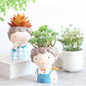 Image 5 - JO LIFE  Home Decoration Carton Succulent Planter Desktop Flower Pot European Style Mini Resin Boy Flower Pot