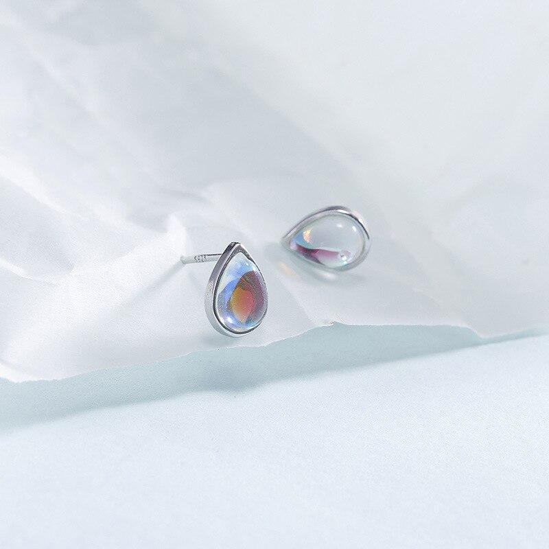 Fengxiaoling 100% 925 Sterling Silber Wasser Tropfen Naturstein Mondstein Stud Ohrringe Für Frauen Einfache Fashion Party Schmuck