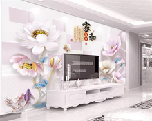 beibehang papel de parede 3d Customized environmentally friendly modern 3D embossed lotus new Chinese TV background wallpaper