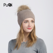 Pudi women winter warm knitted hat cap beanies with real raccoon fur ball hk702