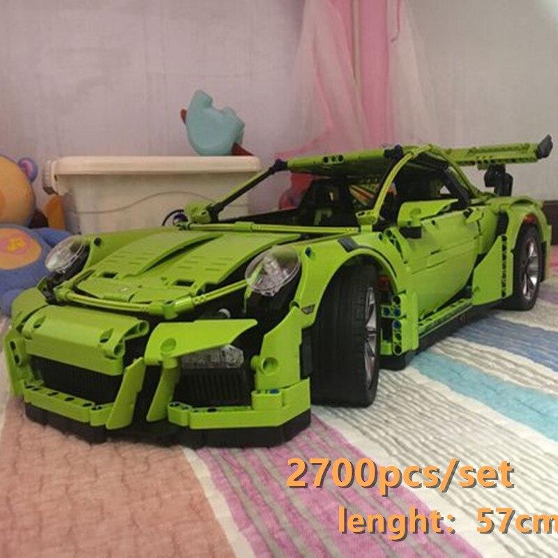 New Technic Porsche Super racing car fit technic speed car model building kits blocks bricks toys