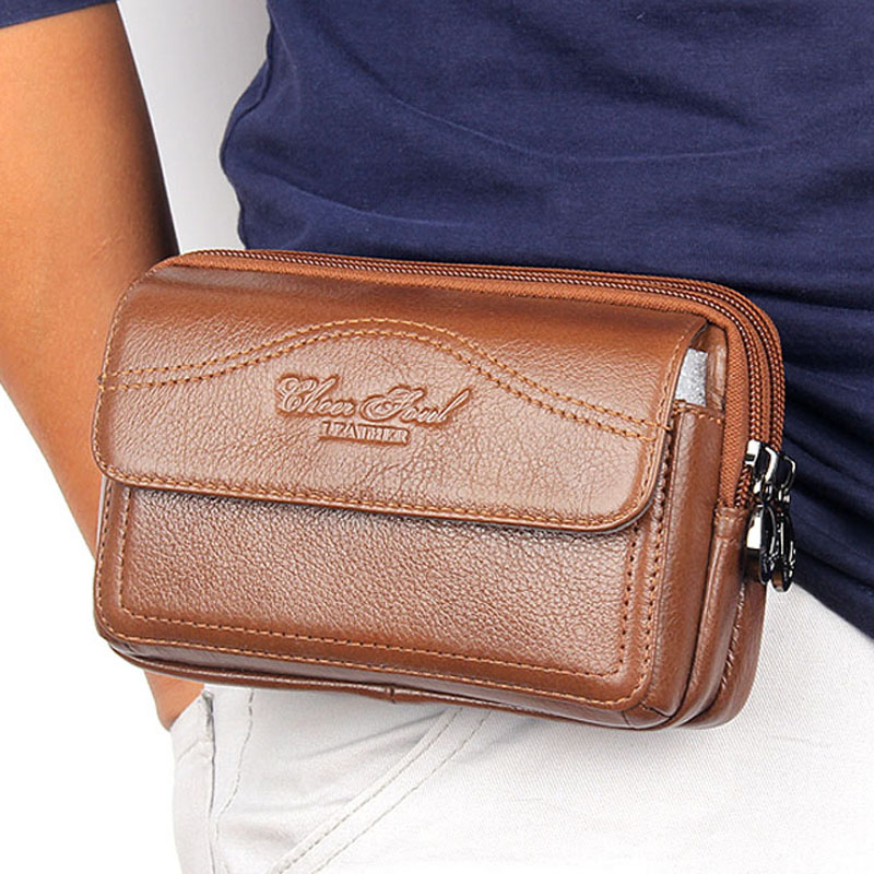 New Cowhide Waist Bags Genuine Leather Casual Small Wallet Purse For Men Hip Bum Cell/Mobile Phone Case Loops Belt Fanny Pack