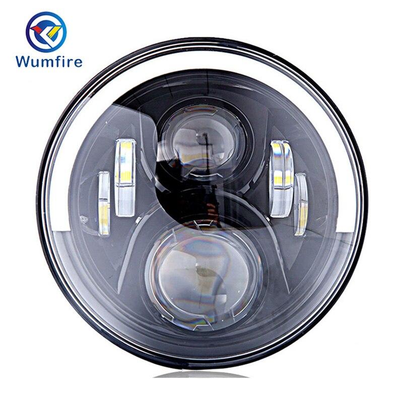 7 Round DOT Motorrad Scheinwerfer LED Motorcycle Auxiliary LED Light For Jeep Wrangler JK Halo Headlight For Kawasaki Angel Eye