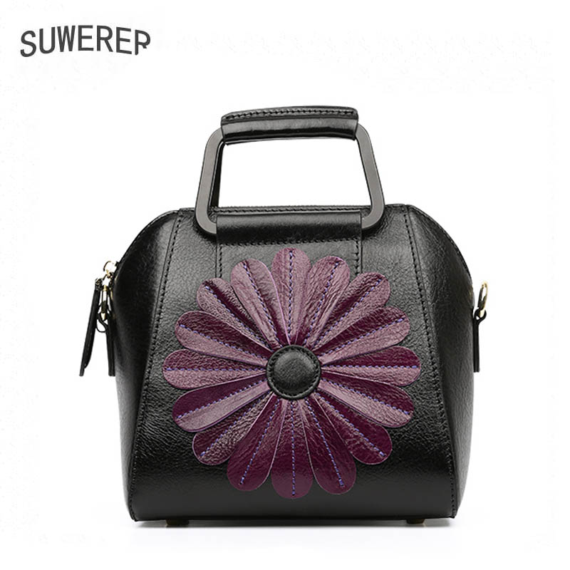 SUWERER Genuine Leather women bags for Top cowhide woman floral flower bag designer Luxury fashion quality handmade art bags suwerer women genuine leather bags 2018 new fashion handmade drawing plum flower top cowhide luxury designer women leather bags