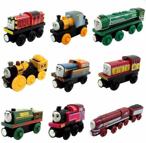 Ashima Bash Dash Rocket Wooden Locomotive Train Compatible with Brio Wooden Train Railway Model Car for Children