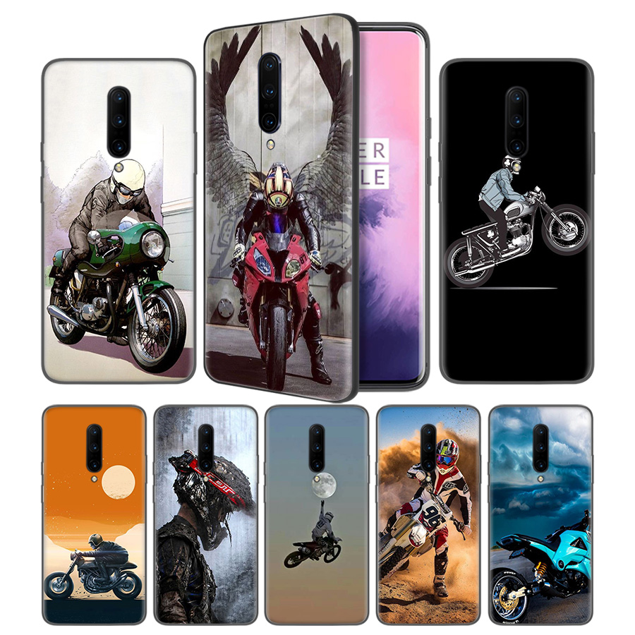 Motocross Dirt Bikes Soft Black Silicone Case Cover for font b OnePlus b font 6 6T