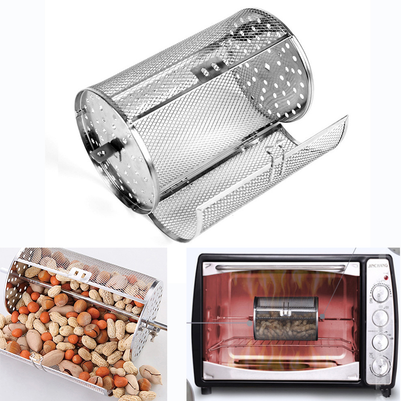 Electric oven universal 12X22CM stainless steel drum grilled cage rotating oven net barbecue roasted coffee bean nut walnut 29(China)