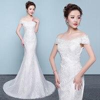 Vestido De Novia 2019 mermaid Wedding Dresses V Neck Short Sleeves Bridal Dress Robe mariee Sexy Lace Wedding Gowns