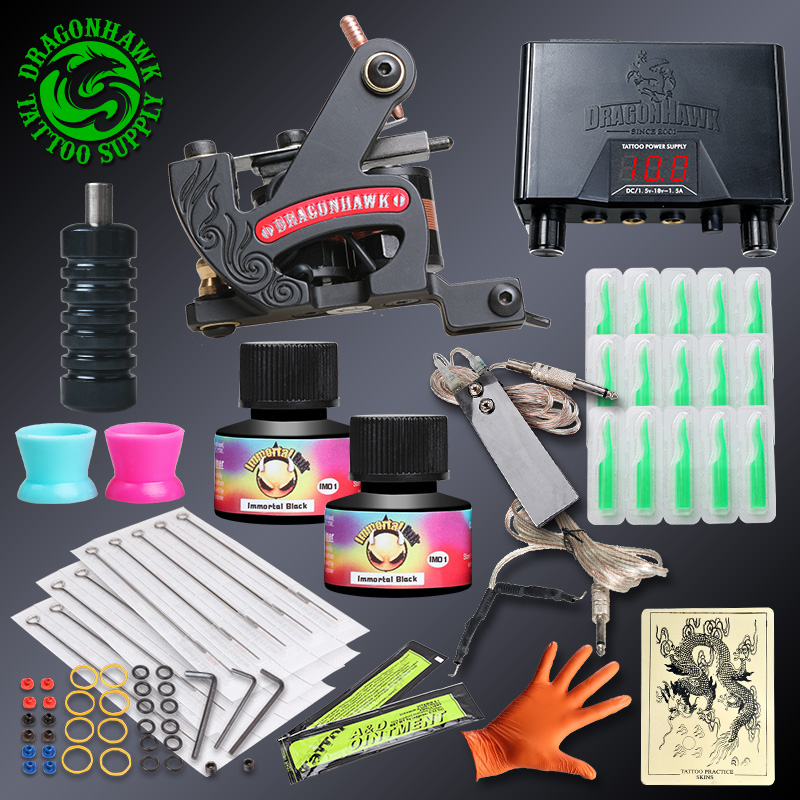 Professional Tattoo kits Fine Lining Tattoo Machine Power Supply Immortal Ink Sets Disposable Needle Grip Tips professional tattoo kits liner and shader machines immortal ink needles sets power supply