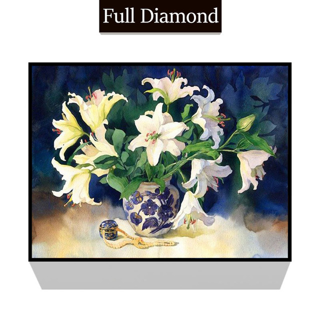 White Lily Vase 5d Diy Full Diy Resin Round Diamond Painting Square