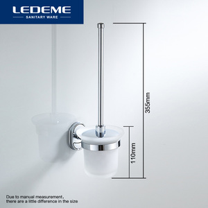Image 3 - LEDEME Toilet Brush Holders Stainless Steel Wall Mounted Durable Type WC Brush Holder With Glass Cup Holder Classic Chrome L1910