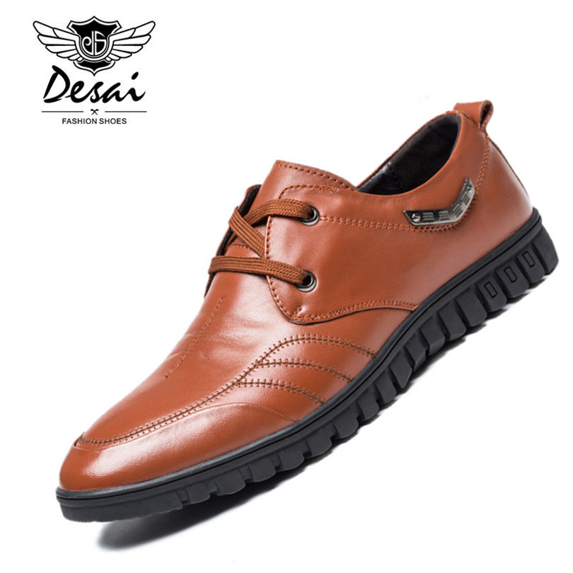 DESAI Brand Luxury Brown Men Genuine Leather Casual Shoes Quality Soft Loafers Comfortable Shoes For Men Size 38-43 2017 brand best quality comfortable driving men shoes genuine leather casual male shoes soft loafers size 42 43 44