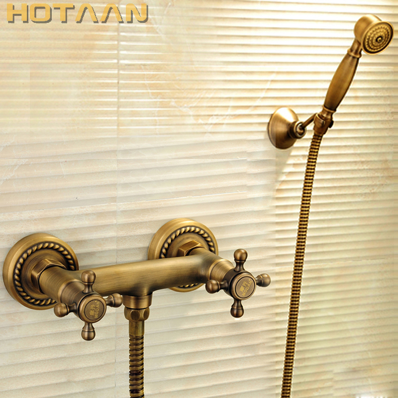 Free shipping Antique Brass Bathroom Bath Wall Mounted Hand Held Shower Head Kit Shower Faucet Sets YT-5315 free shipping wall mounted bath shower faucet bath tub taps bronze antique bath mixer flg40008a