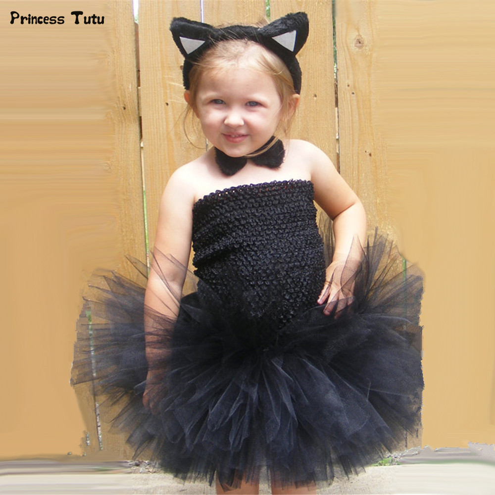 Girls Cosplay Cat Tutu Dress Black Knee-Length Children Birthday Party Dress Tulle Baby Girls Kids Halloween Dress Costume 1-8Y fluffy cosplay halloween party cat faux fox fur ears costume hairpin hairband black white purple leopard black