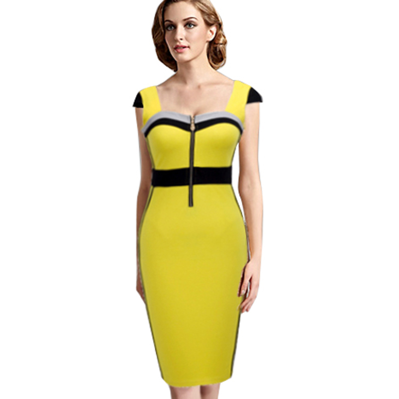 Summer Yellow And Black Colorblock Casual Bodycon Sheath Dresses Front Zipper Wear To Work Business Patchwork Women Dress B272