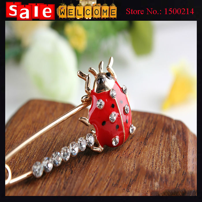 Enamel Ladybird Golden Red Crystal Bead Animal Insect Women's Brooch Safety Pin Lapel Pin Badge Corsage Collar Clip Scarf Buckle