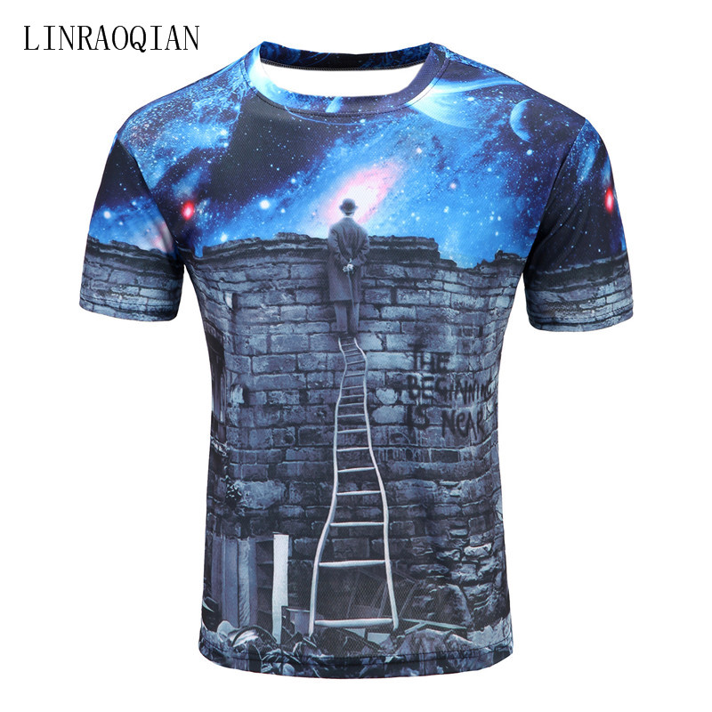 Brand New Europe And American Men/boy T-shirt 3d Fashion Print A Person Watching Meteor Shower Space Galaxy T Shirt Men Tshirt