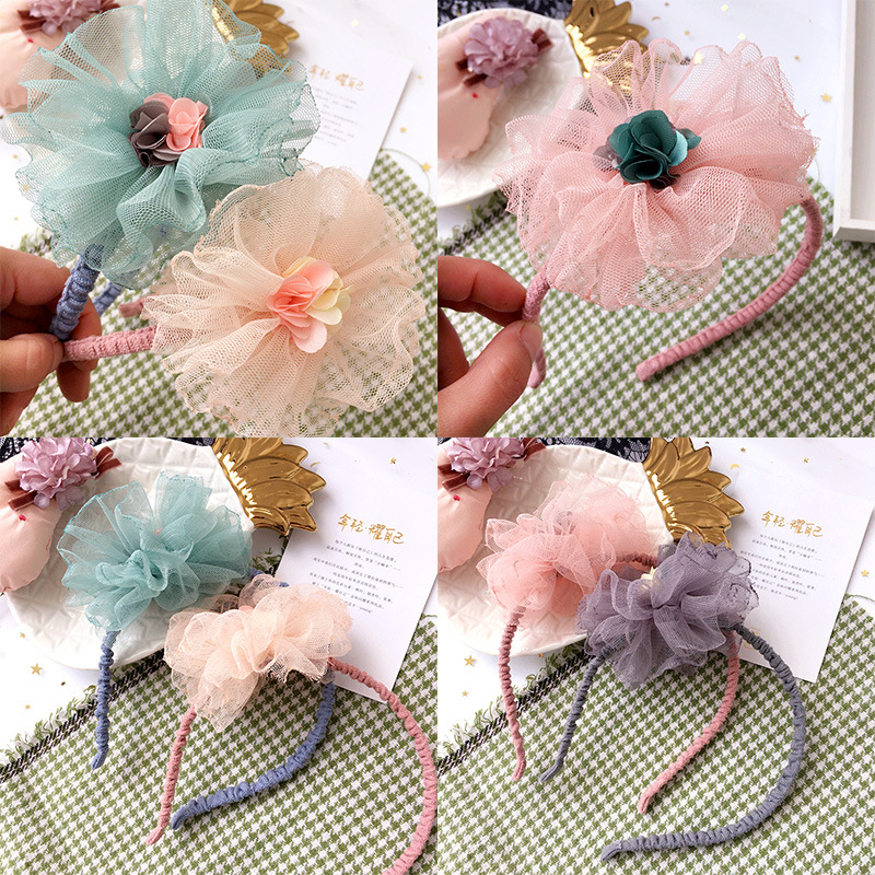 Korea Hair Accessories lovely Flower Crown Hair Band Cotton Headband For Girls Hair Bow Princess 4