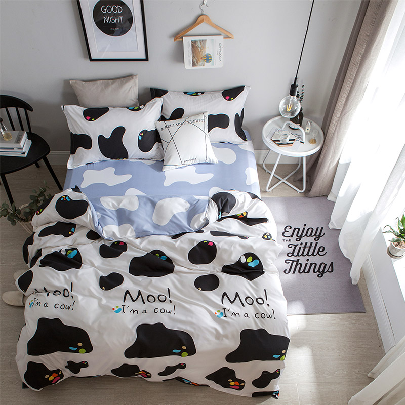 Cartoon White + Black Cow Pattern 4Pcs King Size Bedding Sets Luxury Include Duvet Cover+<font><b>Bed</b></font> Sheet+Pillowcase Super Soft Warm