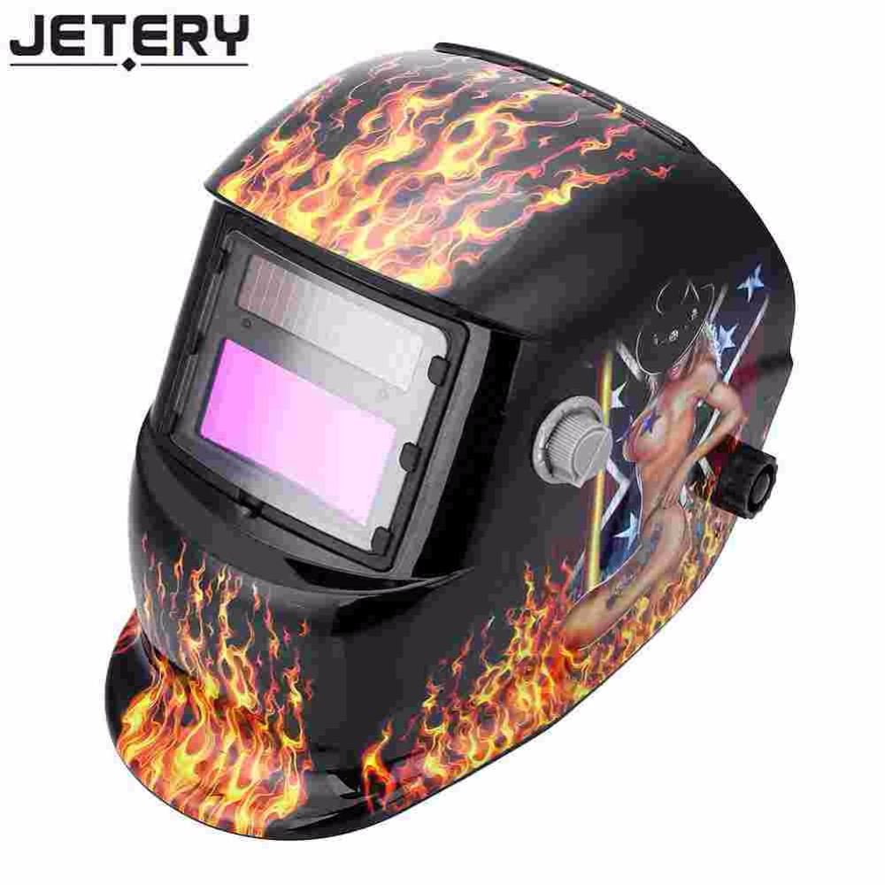 Jetery Solar Powered Auto Darkening Welding Helmet Protection Grinding Tig Mask nice apperance li battery solar auto darkening welding helmet face mask welding mask for plasma cutter
