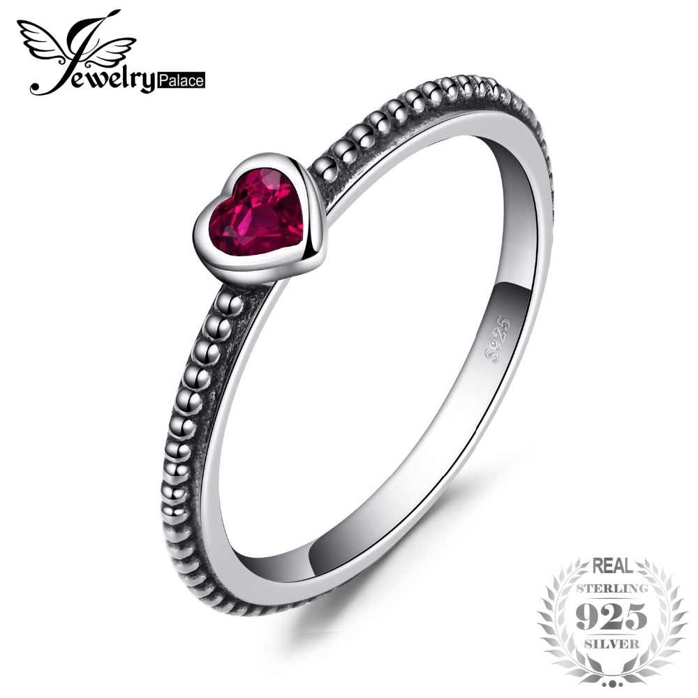 0ee3bc2ee0 Jewelrypalace Love Heart Birthstone Created Rubies Stackable Ring 925  Sterling Silver Ring Women Fashion Engagement Ring