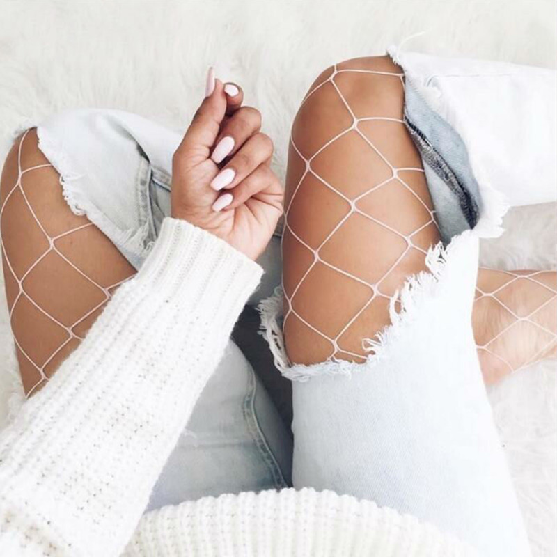 5 Colors Sexy Fishnet Stockings Women Nylon Big Mesh Pantyhose Casual Summer Long Stockings Female Party Club Colorful Tights