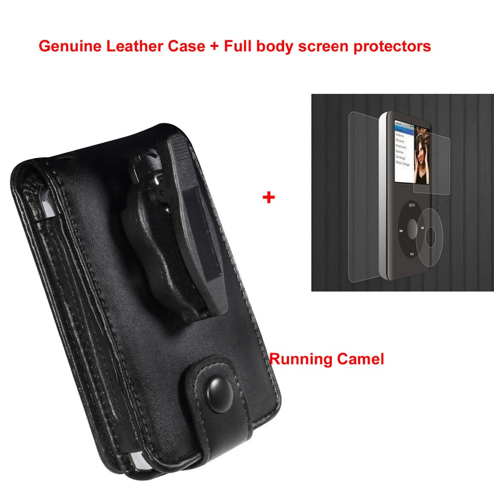 Running Camel Genuine Leather Case for Apple iPod Classic 80GB 120GB 160GB With Belt Clip + Full Body Protective Film