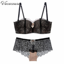2017 Hot Sale Luxury 1/2 Cup Brand Sexy Plus Size Intimates Push Up Bra Set Underwear Floral Embroidery Lace Women Bra Panty B39
