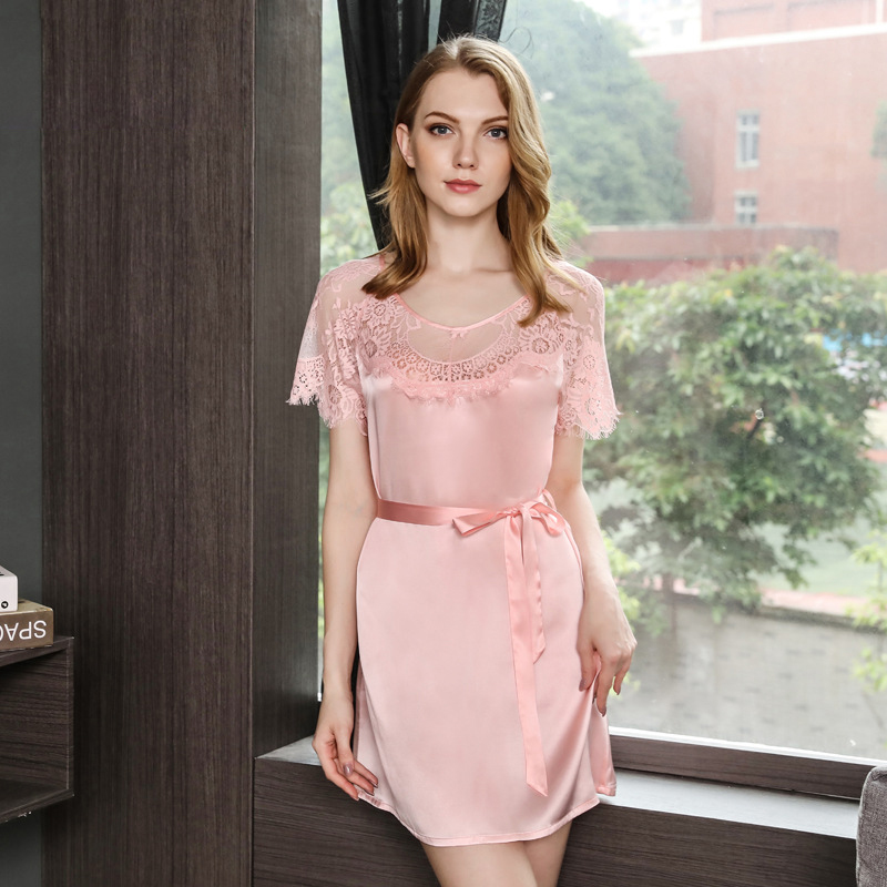 Sexy wedding Red 100% silk sleepdress women noble nightwear quality natural  silk long sleeved home dress women sleep shirt-in Nightgowns   Sleepshirts  from ... 5e6c8c920