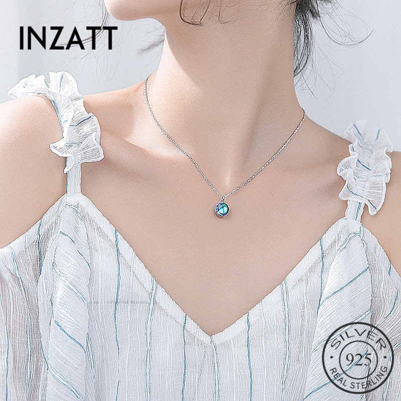 INZATT Real 925 Sterling Silver Semicircle Blue Stone Pendant Necklaces Minimalist Fine Jewelry For Women Party Accessories GiftINZATT Real 925 Sterling Silver Semicircle Blue Stone Pendant Necklaces Minimalist Fine Jewelry For Women Party Accessories Gift
