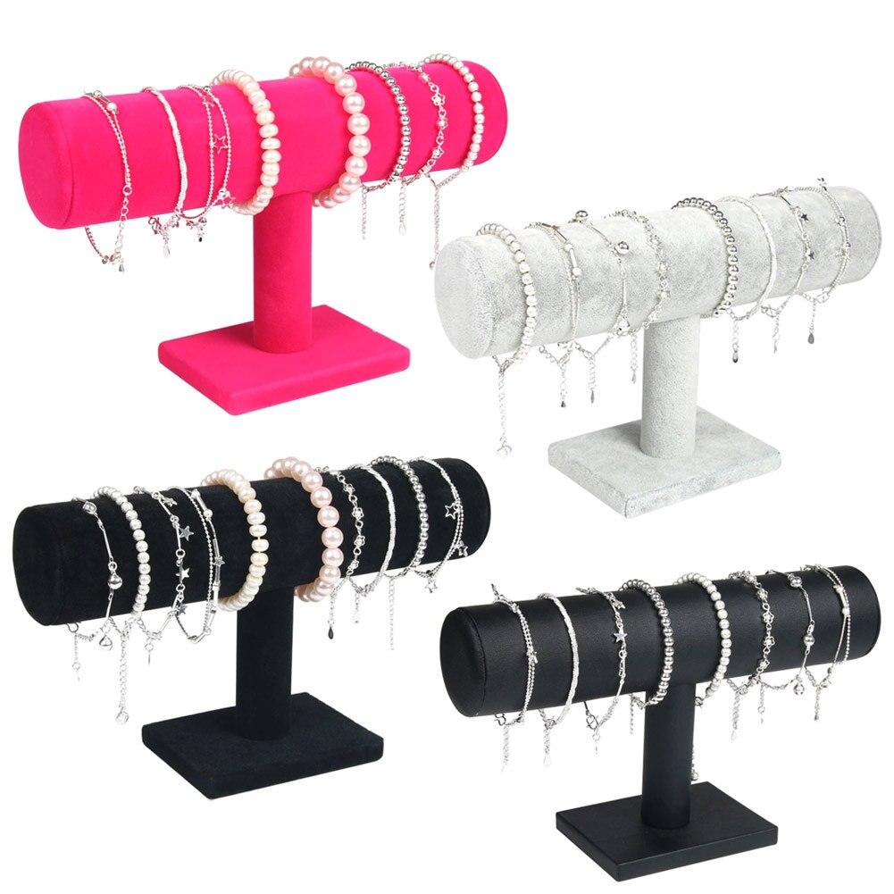 Portable Velvet/PU Leather Bracelet Bangle Necklace Display Stand Holder Watch Jewelry Organizer T-Bar Rack KQS8