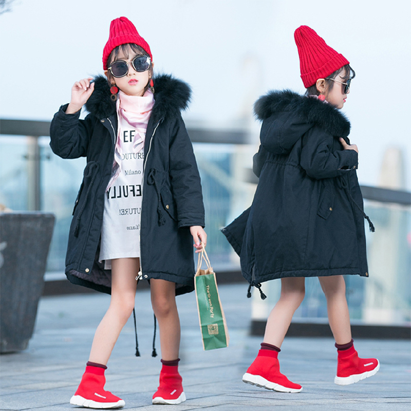 2017 New Fashion Girls Winter Coat Thicken Warm Slim Cotton Wadded Jacket Two Kinds Color Fit 6-14 Years Children Coat