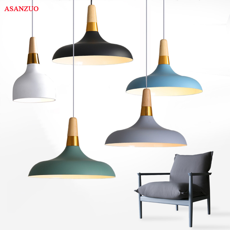 Modern Fashion Colorful Wood Pendant Lights Lamparas Minimalist Design Shade Luminaire Dining Living Room Pendant Lamp To Adopt Advanced Technology Lights & Lighting Pendant Lights
