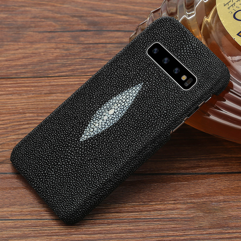 Case For galaxy s10 LANGSID Genuine stingray leather phone Cover for Samsung s10 plus luxury Black case stingray capa for s10 in Half wrapped Cases from Cellphones Telecommunications