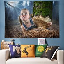 Little Girls Trunk Tree Nature Tapestry Forest Wall Hanging Boho Art Creative for Living Room Bedroom New