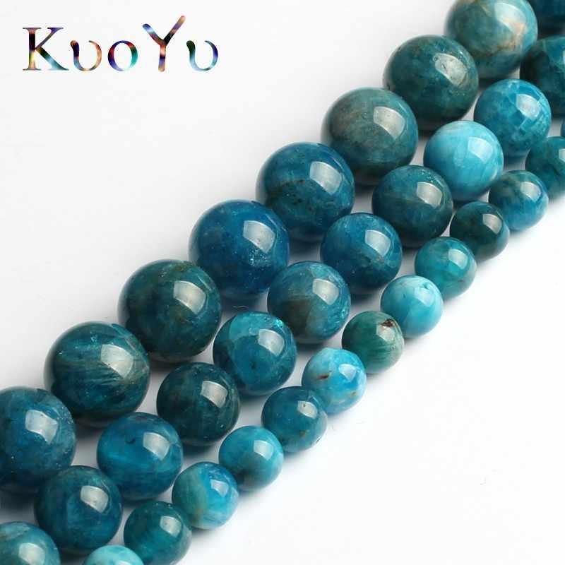 A + Natürliche Blau Apatit Edelstein Stein Perlen Glatte Runde Lose Perlen 15 ''6/8/10mm für Schmuck Machen DIY Armband Anhänger Halskette