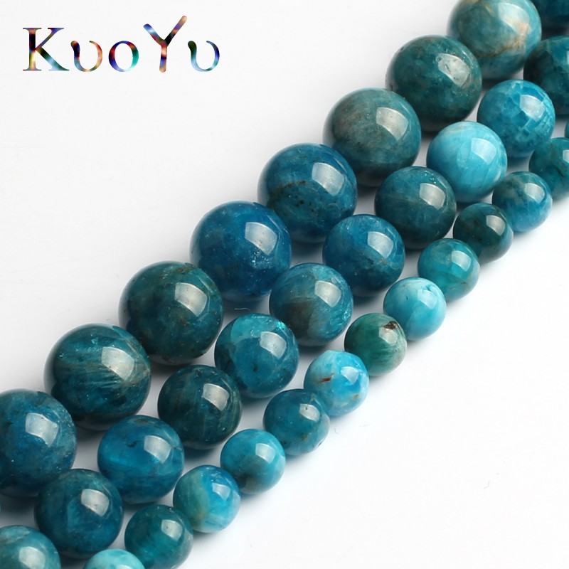 """NEW 8mm Natural black gray Apatite Round Loose Beads 15/""""AAAA"""