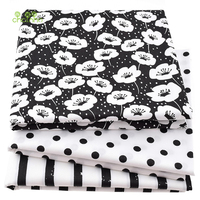 3pcs Printed Twill Cotton   Fabric   For Sewing Quilting Tissue of Baby&Children Pillow,Cushion,Curtain Material Black&White 40*50cm