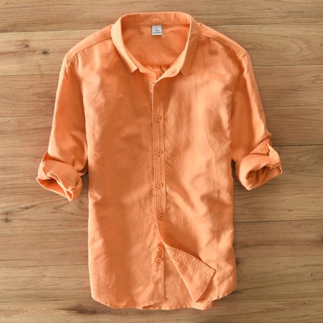 Для мужчин Solid Linen блузка Рубашки с длинным рукавом брендовая одежда Camisas Hombre Vestir отложной воротник модная повседневная рубашка Топ сорочка