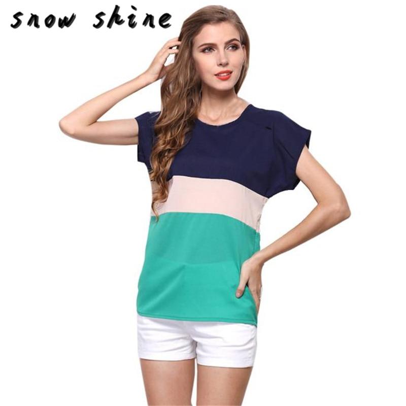 snowshine YLI   Women Summer Stripe Chiffon T-Shi FREE SHIPPING