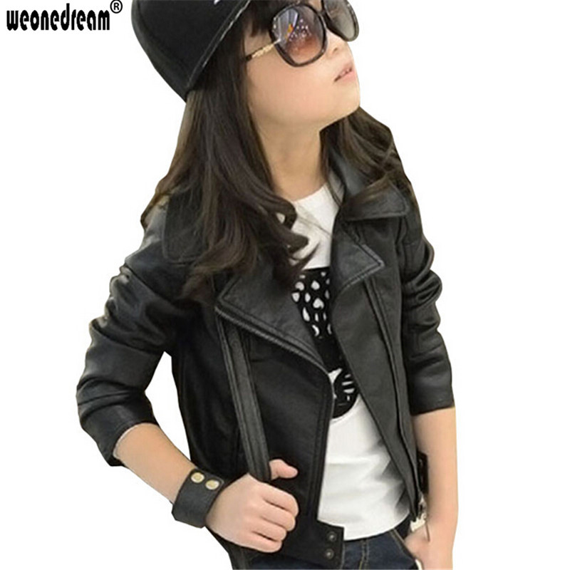 WEONEDREAM New Girl Leather Jacket Kids Girls Coats Spring ...