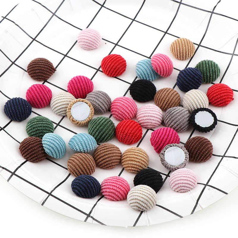 Mix kolorów 15mm 50PC sztruks okrągły kształt dla dzieci ubrania dla dzieci pokryte przycisk Flatback Cabochon DIY dekoracji przyciski Scrapbooking DIY